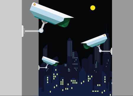 Day and Night wireless surveillance camera . Vector illustration of CCTV cameras in flat design. Technical wireless special equipment for watching people and things.night city background