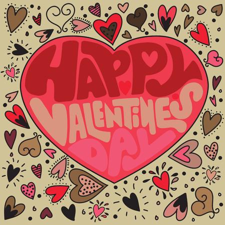 ハッピーバレンタインデーカード、タイポグラフィ、心と背景