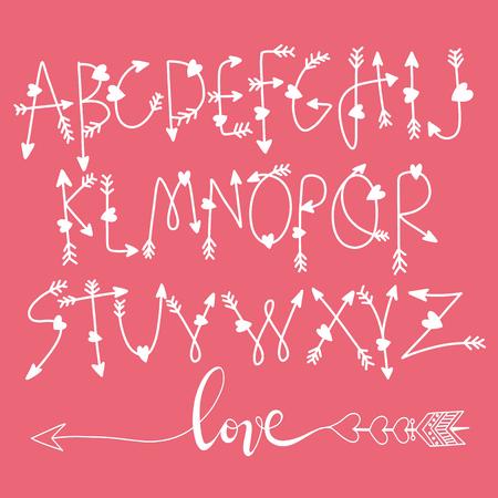 Hand Drawn Vector Illustration of font from arrows, illustrator line tools drawing,Love concept Illusztráció