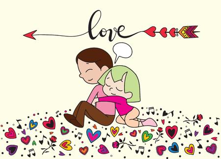 腕で彼らの恋人を抱きしめる幸せなカップルとの愛のテーマ。装飾的なウェディングスタイルの要素のセット。