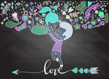Love theme with happy couple hugging and encircling their lovers with arms. Cute woman jumping into mans embrace.Set of Ornamental Wedding Style Elements. Иллюстрация