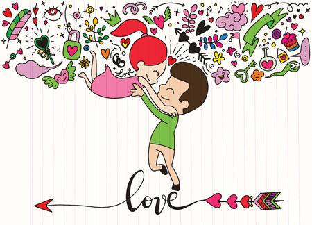 Love theme with happy couple hugging and encircling their lovers with arms. Cute woman jumping into mans embrace.Set of Ornamental Wedding Style Elements.