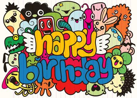 Dibujado a mano fiesta de cumpleaños garabatos elementos de fondo, letras escritas a mano. Feliz cumpleaños tarjeta de felicitación. Monster Doodle para tu diseño Ilustración de vector