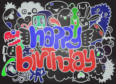 Birthday party hand drawn doodles elements background ,handwritten lettering. Happy Birthday greeting card. Monster Doodle for your design Standard-Bild - 95356185