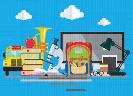 Back to school background with school supplies set, Modern flat icons set.