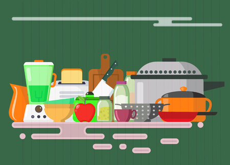 Kitchen utensils set. Kitchenware, cookware, kitchen tools collection. Stock Illustratie