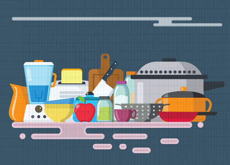 Kitchen utensils set. Kitchenware, cookware, kitchen tools collection. Illustration