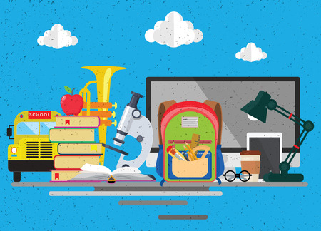 Back to school background with school supplies set, Modern flat icons set; graphic elements; isolated objects for website; web banner; info-graphics. Flat design concept. Vector illustration. Illustration