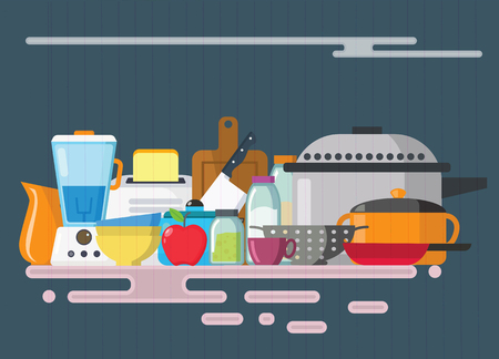 Kitchen utensils set. Kitchenware, cookware, kitchen tools collection. Modern flat icons set, graphic elements, isolated object for website, web banner, info-graphics. Flat design concept. Vector illustration. Standard-Bild - 95295701