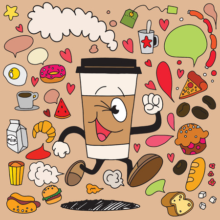 Vector illustration of smile takeaway coffee cup running on breakfast element background. Creative cartoon coffee concept. Illustration