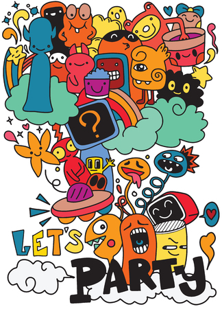 Vector illustration of Celebration party carnival festive icons set. Hand drawn, doodle monster party.
