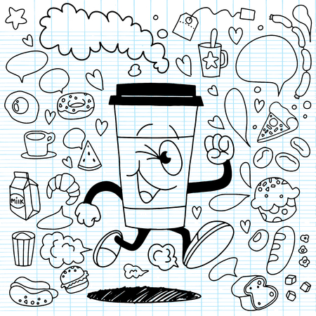 Vector illustration of smile takeaway coffee cup running on breakfast element background. Creative cartoon coffee concept. Vettoriali