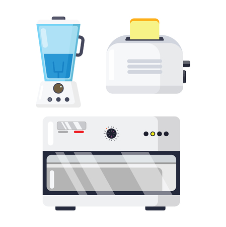 Huishoudapparaten elektronische vectorkeukenhuistoestel voor huis vastgestelde elektrische machine in appliancestoreillustratie die op witte achtergrond wordt geïsoleerd
