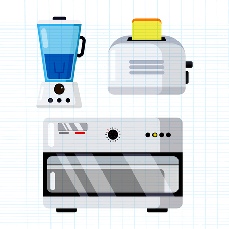 Household appliances electronic vector kitchen homeappliance for house set electric machine in appliancestore illustration isolated on white background Stock Illustratie