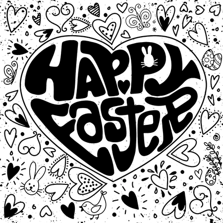 Typographical background for your love. Cute Easter festive banner for greeting card with holiday traditional symbols in doodle style in heart shape