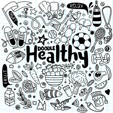 Healthy lifestyle concept,Hand drawn vector illustration set of fitness and sport sign and food doodles elements.Healthy food, sport and fitness themes. Illustration