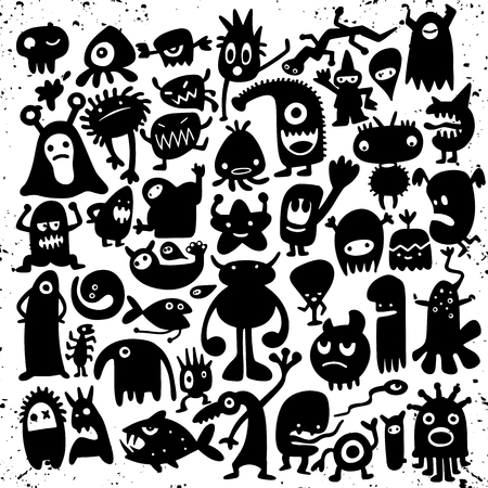 Hand drawn black monster silhouettes. Bacteria and beast, alien and devil, ghosts and demon vector illustration. Monsters of set for halloween, scary bizarre character monster Çizim