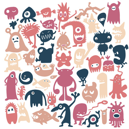 Hand drawn black monster silhouettes. Bacteria and beast, alien and devil, ghosts and demon vector illustration. Monsters of set for halloween, scary bizarre character monster Ilustração