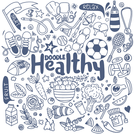 Healthy lifestyle concept,Hand drawn vector illustration set of fitness and sport sign and  food doodles elements.Healthy food, sport and fitness themes.
