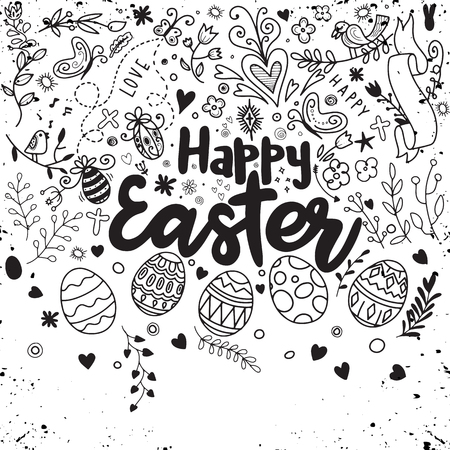 Doodle decorative eggs and elements for Easter: bunny, bird, heart, eggs and butterfly. Inscription Happy Easter in Black and white Doodle sketch.