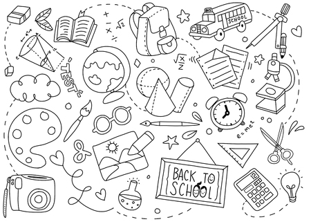 Back to School poster with doodles of school art Vector illustration. Çizim