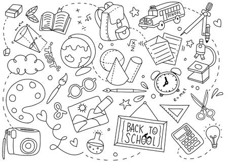 Powrót do szkoły plakat z doodles sztuki szkolnej ilustracji wektorowych.