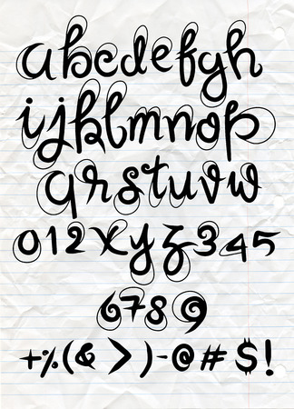 Vector handwritten brush script. Luxury letters isolated on white crumpled paper background