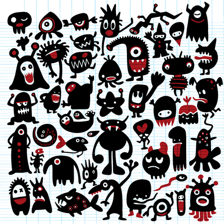 Hand drawn black monster silhouettes. Bacteria and beast, alien and devil, ghosts and demon vector illustration.