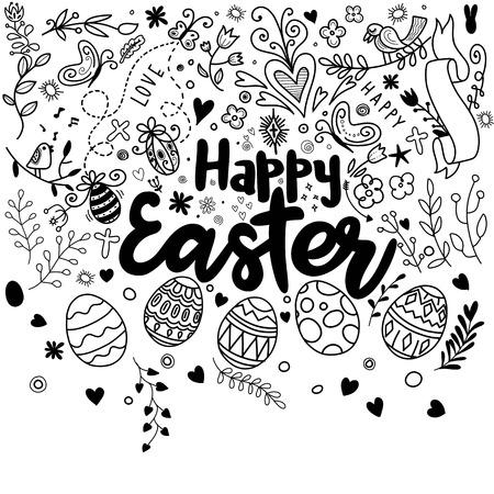Scarabocchii le uova e gli elementi decorativi per Pasqua: coniglietto, uccello, cuore, uova e farfalla. Abbozzo di Doodle di buona Pasqua dell'iscrizione in bianco e nero. Archivio Fotografico - 97276768