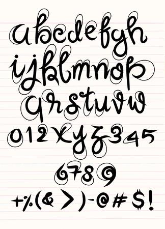 벡터 필기 브러시 스크립트입니다. 줄이 그어진 된 시트에 흰색 background.drawing에 고립 된 고급 편지 일러스트