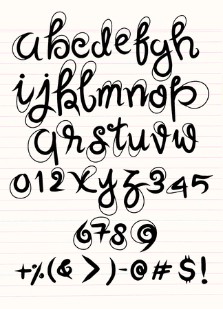 Vector handwritten brush script. Luxury letters isolated on white background.drawing  on lined sheet
