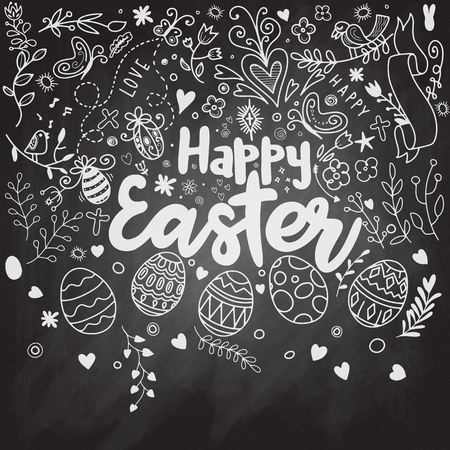 Doodle decorative eggs and elements for Easter.: bunny, bird, heart, eggs and butterfly. Inscription Happy Easter. Black and white. Doodle sketch. Archivio Fotografico - 97281476