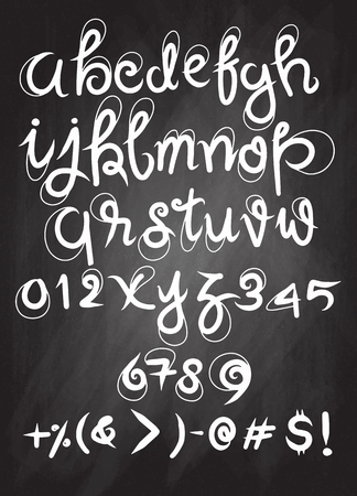 Vector handwritten brush script. Luxury letters isolated on white background.drawing with chalk on chalkboard background.