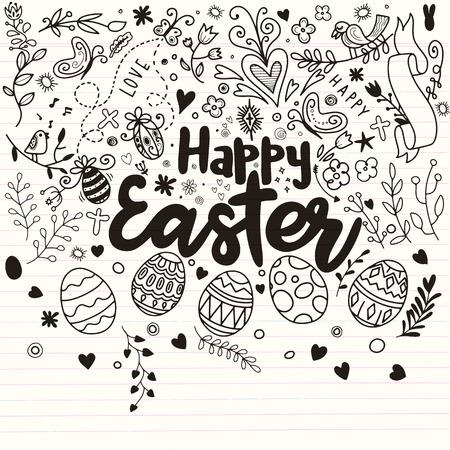 Scarabocchii le uova e gli elementi decorativi per Pasqua: coniglietto, uccello, cuore, uova e farfalla. Iscrizione Buona Pasqua. Bianco e nero. Schizzo Doodle. Archivio Fotografico - 97281488