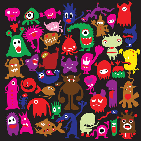 hand drawn black monster silhouettes. Bacteria and beast, alien and devil, ghosts and demon vector illustration. Monsters of set for halloween, scary bizarre character monster