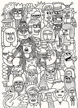 Ilustracja wektorowa Cartoon twarze tłum doodle ręcznie rysowane wzór, styl Doodle, opierając się na arkuszu podszewką
