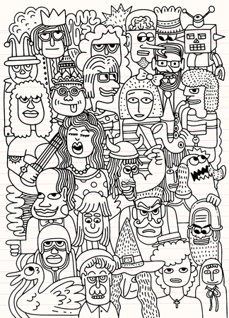 Vector illustration of Cartoon faces crowd doodle hand-drawn pattern , Doodle style ,drawing on lined sheet