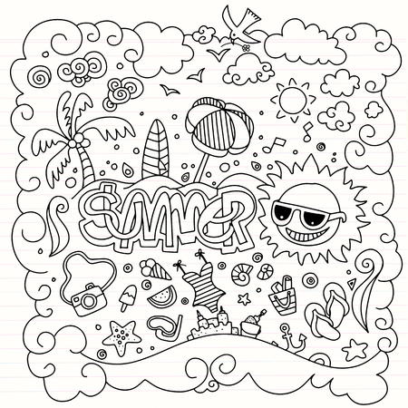 Hand drawn vector illustration set of summer elements.Hand drawing Doodle,hand drawn alphabet drawing  on lined sheet Foto de archivo - 97424197