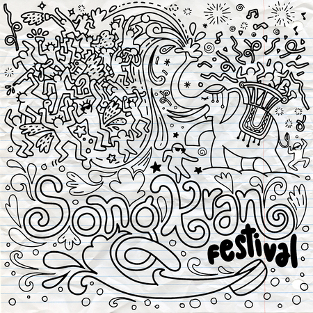 Hand drawn vector illustration of Songkran festival in Thailand doodle style.