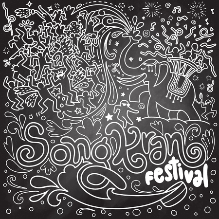 Hand drawn vector illustration of Songkran festival in Thailand doodle style on chalkboard background.