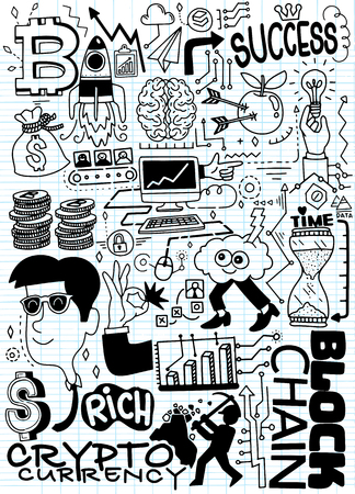 Hand Drawn Vector Illustration of Doodle cryptocurrency,drawing on note paper