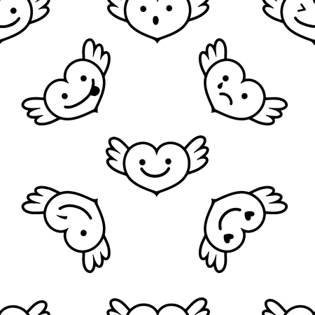 Hearts with wings ,faces with different emotions, Cute cartoon style picture,Vector seamless pattern.  Illustration