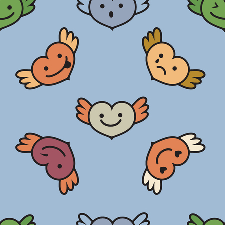 Hearts with wings ,faces with different emotions, Cute cartoon style picture,Vector seamless pattern.  Ilustrace
