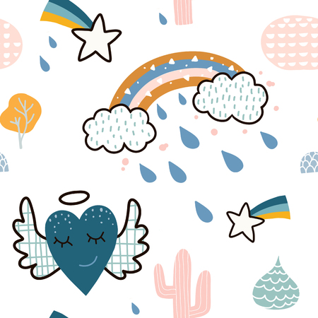 Childish seamless pattern with hand drawn cloud with rainbow,Hearts with wings,meteor and cactus and hand drawn elements. Creative childish texture. Great for fabric, textile Vector Illustration 矢量图像