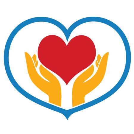 cuore a portata di mano icona illustrazione vettoriale isolato segno simbolo