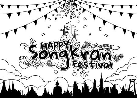 Songkran Festival in Thailand Vector, Thai traditional, Thai Water Splash with Landmark in Thailand , Thailand Traditional New Years Day