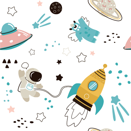 Childish seamless pattern with hand drawn space elements