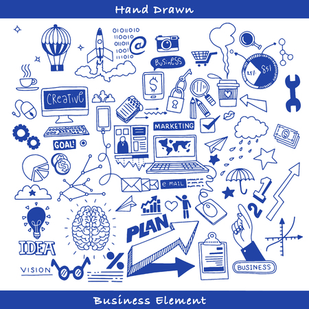 Business doodles Sketch set , infographics elements isolated, vector shapes. It include lots of icons included graphs, stats, devices,laptops, clouds, concepts and so on. Foto de archivo - 98030454