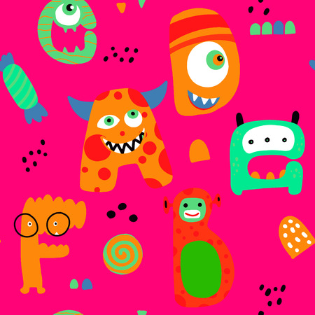 Childish seamless pattern with hand drawn Monster in scandinavian style. Creative vector childish background for fabric, textile ,Vector Illustration Illustration