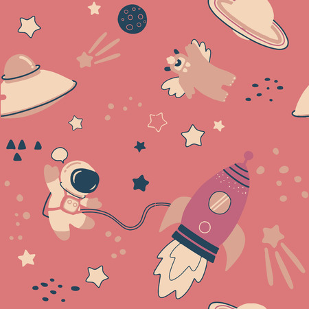 Childish seamless pattern with hand drawn space elements space, rocket, star, planet, space probe. Trendy kids vector background. Vectores